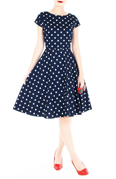 'Let's Do The Polka' Flare Tea Dress - Midnight Blue