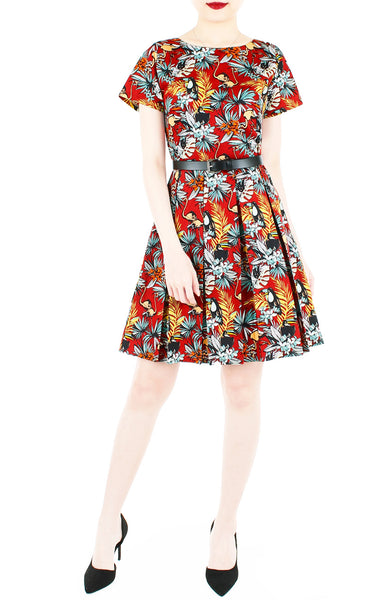 Let's Fla-mingle Flare Dress with Short Sleeves - Ruby Red
