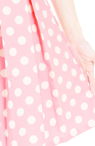 'Let's Do The Polka' Flare Dress with Sleeves - Azalea Pink