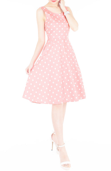 'Let's Do The Polka' Flare Midi Dress - Amaranth Pink