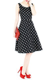 'Let's Do The Polka' Flare Midi Dress - Black
