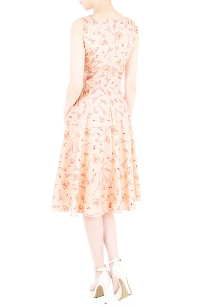 Lil' French Patisserie Midi Flare Dress - Pastel Orange
