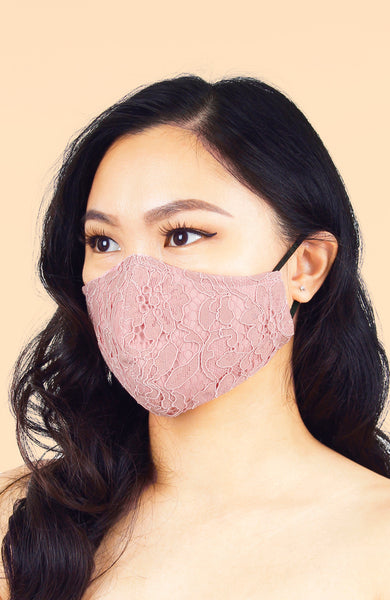 MASQUERADE Luxe Lace Mask - Pink Peony