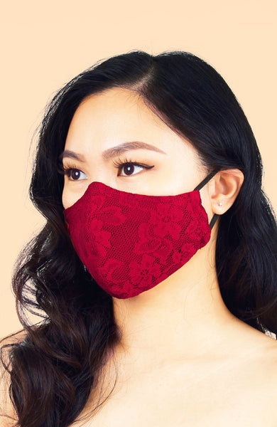 MASQUERADE Luxe Lace Mask - Romantic Ruby