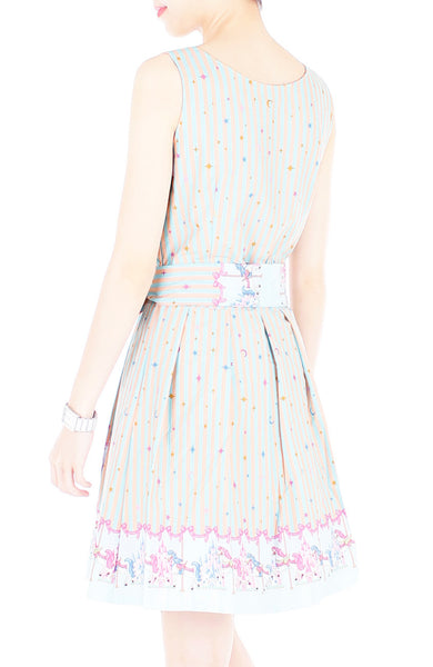Magical Christmas Carousel Wrap Dress with Belt