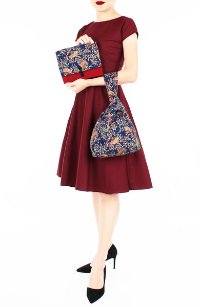 Magnificent Sakura Japanese Prosperity Bag in Symphony Blue - Reversible