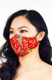 Magnificent Sakura Pure Cotton Face Mask in Red
