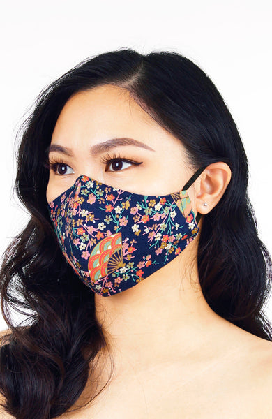 Magnificent Sakura Pure Cotton Face Mask in Symphony Blue