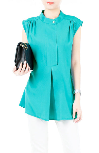 Mandarin Manor Long Blouse - Sea Blue