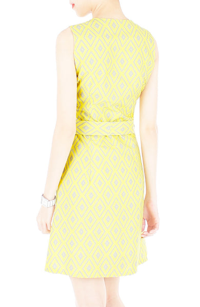 Mod Aztec A-Line Button Down Dress - Yellow