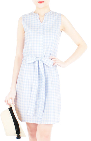 Mod Summer Gingham A-Line Button Down Dress - Alice Blue