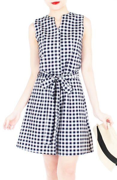 Mod Summer Gingham A-Line Button Down Dress - Black