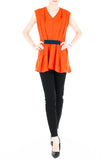 Modern Artful Origami Top - Orange