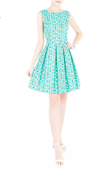 Modernist Stained Glass Art Flare Dress