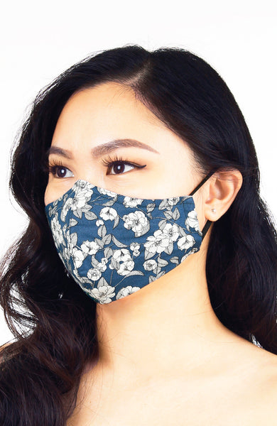 Monochromatic Poppies Pure Cotton Face Mask - Lake Blue