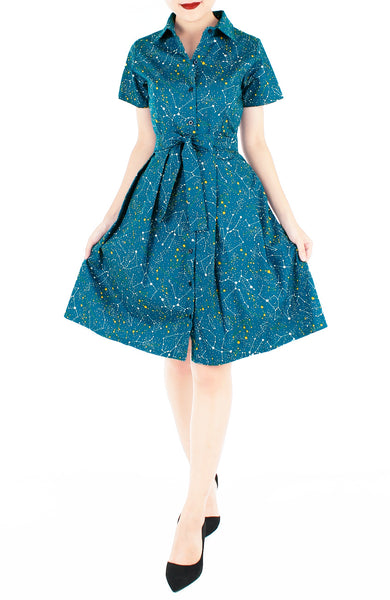 Moonlight Galaxy Emma Two-way Shirtdress - Cosmic Turquoise