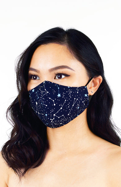 Moonlight Galaxy Pure Cotton Face Mask - Midnight Blue
