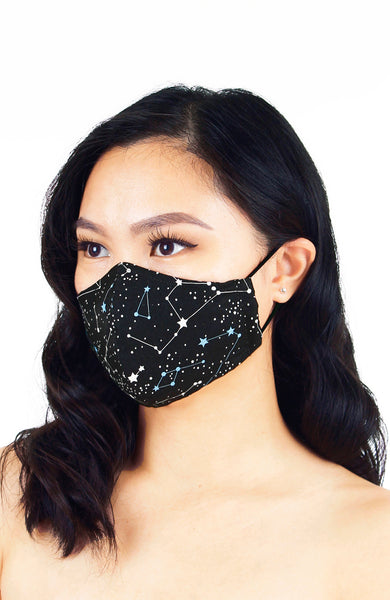 Moonlight Galaxy Pure Cotton Face Mask - Onyx Black