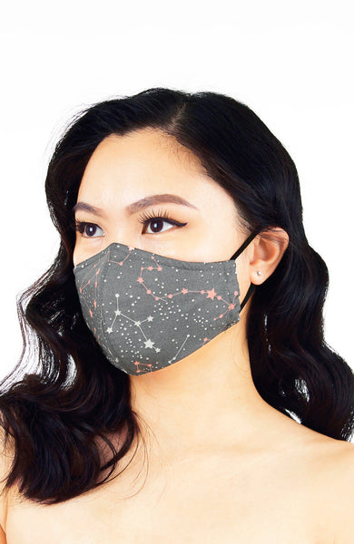 Moonlight Galaxy Pure Cotton Face Mask - Silver Pink