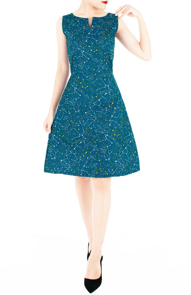 Moonlight Galaxy Stella Dress - Turquoise
