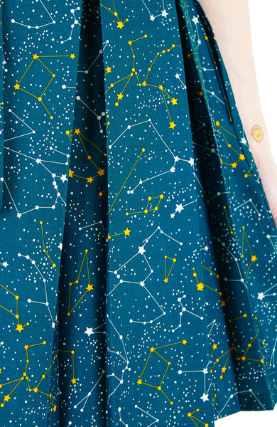Moonlight Galaxy Flare Dress with Belt