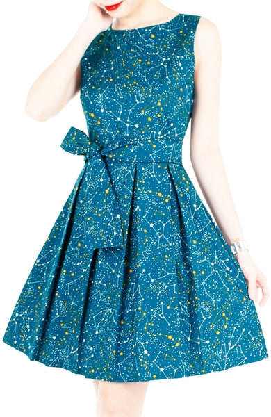 Moonlight Galaxy Flare Dress with Obi Belt