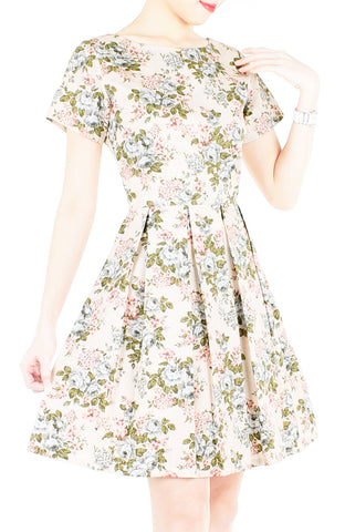 Museum of Roses Flare Dress with Short Sleeves