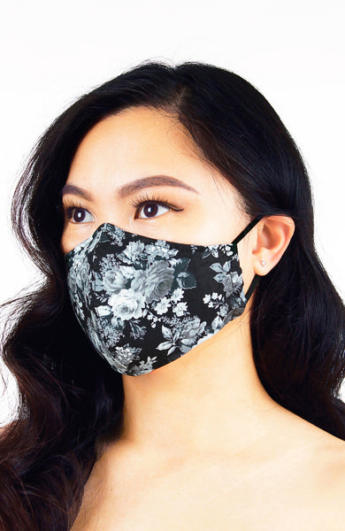 Mysterious Black Rose Pure Cotton Face Mask