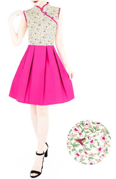 Mystical Dove & Sakura Cheongsam Dress