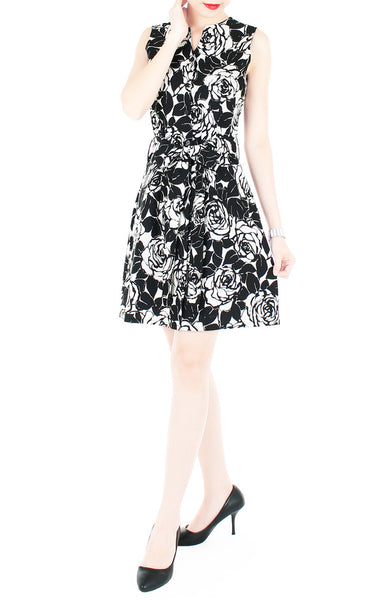 Night Rose A-Line Button Down Dress