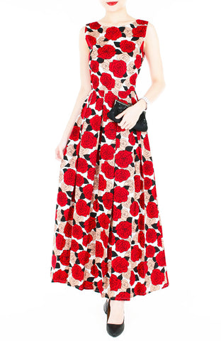 Nights of Fancy Rose Flare Maxi Dress - Red