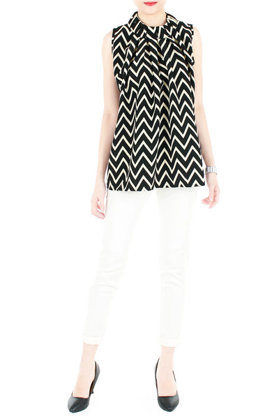 Noble High Neck Pleat Blouse in Chevron - Black
