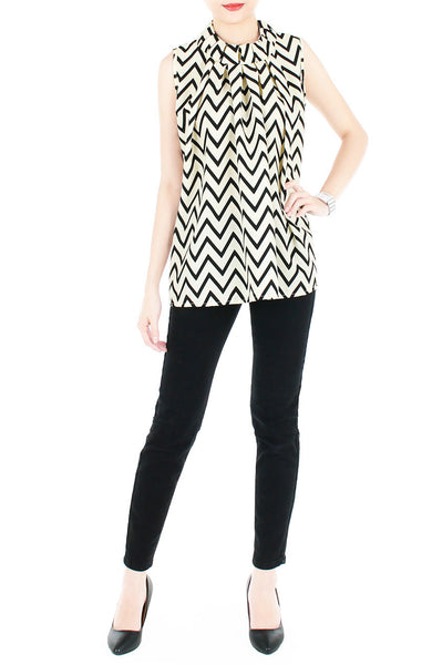 Noble High Neck Pleat Blouse in Chevron - Cream