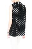 Noble High Neck Pleat Blouse in Polka Dots - Black