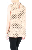 Noble High Neck Pleat Blouse in Polka Dots - Latte