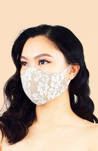 MASQUERADE Luxe Lace Mask - Ivory Dahlia