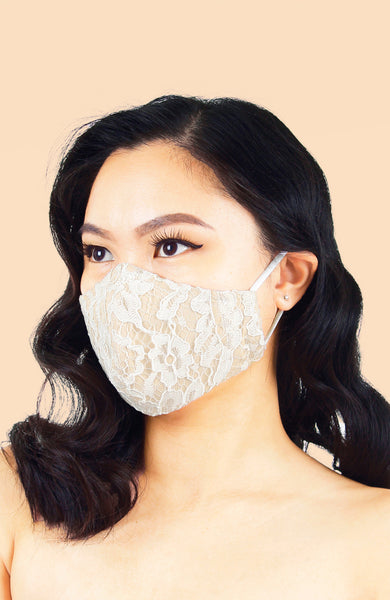 MASQUERADE Luxe Lace Mask - Pure Porcelain