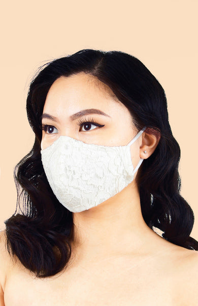 MASQUERADE Luxe Lace Mask - Pure White