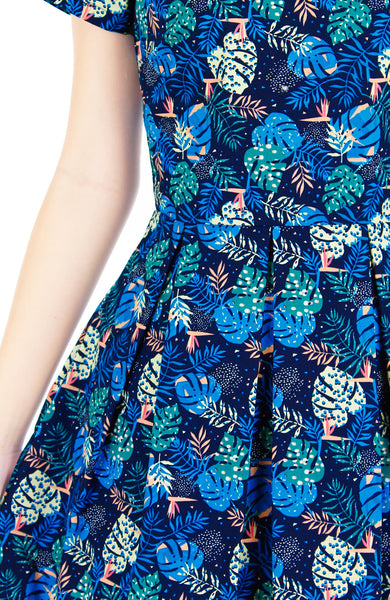 Pandora's Tropical Paradise Flare Dress with Short Sleeves