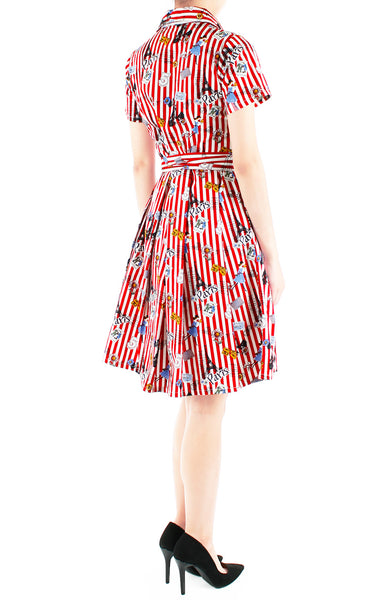 Parisian Chic Anna Shirtdress - Lipstick Red