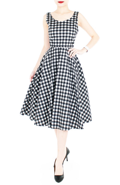 Pin-up Queen in Gingham Flare Midi Dress (Longer Length)