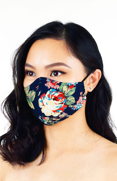 Poignant Peonies Pure Cotton Face Mask - Navy