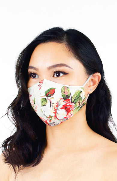 Poignant Peonies Pure Cotton Face Mask - Ivory White