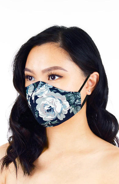 Poignant Peonies Pure Cotton Face Mask - Porcelain Navy