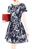 Poignant Palm Flare Dress with Short Sleeves - Midnight Blue