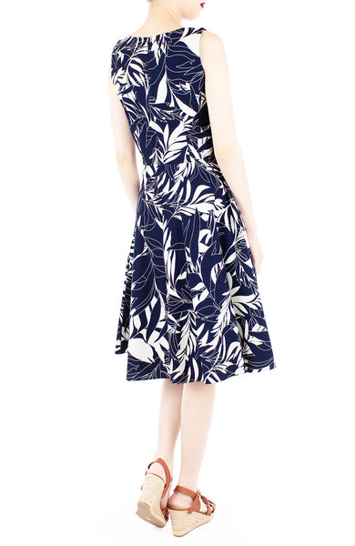 Poignant Palm Flare Midi Dress - Midnight Blue