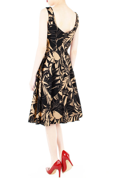 Poignant Palm Flare Midi Dress - Tan