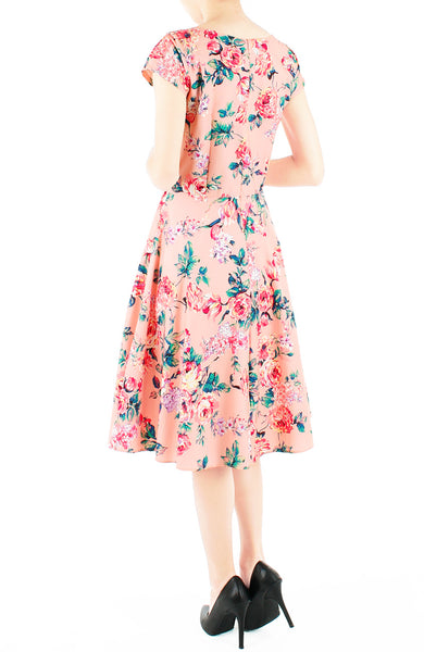 Poignant Peonies Flare Tea Dress - Crepe Pink