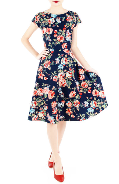 Poignant Peonies Flare Tea Dress – Navy