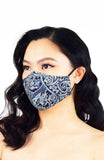 Polished Paisley Pure Cotton Face Mask - Navy